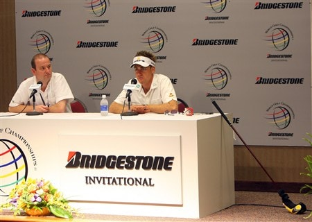 AKRON, OH - JULY 30:  Ian Poulter of England answers a question during a press conference before practice for the World Golf Championship Bridgestone Invitational on July 30, 2008 at Firestone Country Club in Akron, Ohio.  (Photo by Stuart Franklin/Getty Images)