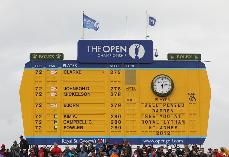 The giant yellow scoreboard tells the story - and the time