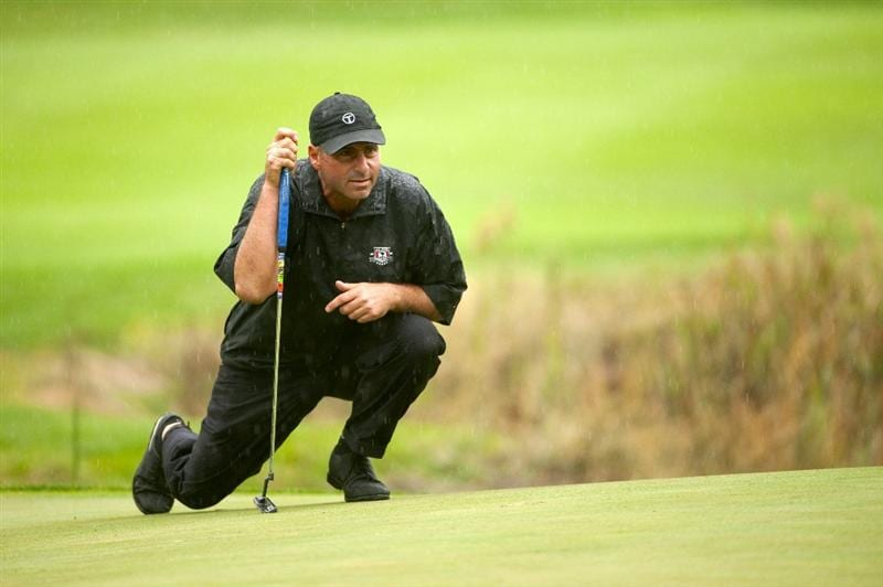 SAN MARTIN, CA - OCTOBER 17:  Rocco Mediate lines up a putt on the 12th hole during the final round of the Frys.com Open at the CordeValle Golf Club on October 17, 2010 in San Martin, California.  (Photo by Robert Laberge/Getty Images)