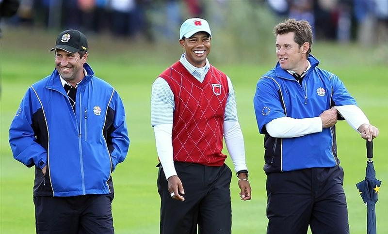 NEWPORT, WALES - OCTOBER 03:  Europe Vice Captain Jose-Maria Olazabal walks with Lee Westwood (R) and Tiger Woods during the  Fourball & Foursome Matches during the 2010 Ryder Cup at the Celtic Manor Resort on October 3, 2010 in Newport, Wales.  (Photo by Andy Lyons/Getty Images)