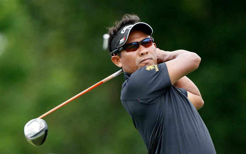 DUBLIN, OH - JUNE 06:  Thongchai Jaidee of Thailand watches his tee shot on the first hole during the final round of the Memorial Tournament presented by Morgan Stanley at Muirfield Village Golf Club on June 6, 2010 in Dublin, Ohio.  (Photo by Scott Halleran/Getty Images)