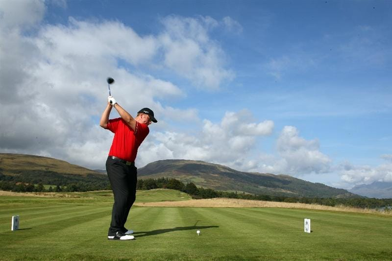 LOCH LOMOND, UNITED KINGDOM - SEPTEMBER 16:  Craig Matheson of Scotland drives from the 10th tee during practice for the 2009 PGA Cup Matches at The Carrick at Loch Lomond, on September 16, 2009 Loch Lomond, United Kingdom  (Photo by David Cannon/Getty Images)