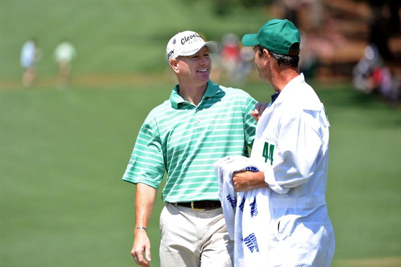 AUGUSTA, GA - APRIL 12:  Steve Flesch laughs with his caddie after holing out for eagle on the second hole during the final round of the 2009 Masters Tournament at Augusta National Golf Club on April 12, 2009 in Augusta, Georgia.  (Photo by Harry How/Getty Images)