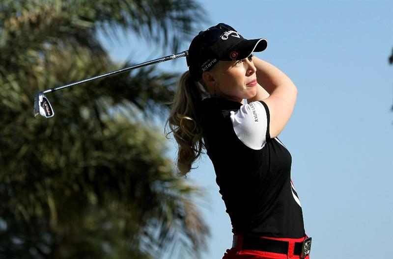 RANCHO MIRAGE, CA - APRIL 03:  Morgan Pressel hits her tee shot on the 14th hole during the final round of the Kraft Nabisco Championship at Mission Hills Country Club on April 3, 2011 in Rancho Mirage, California.  (Photo by Stephen Dunn/Getty Images)