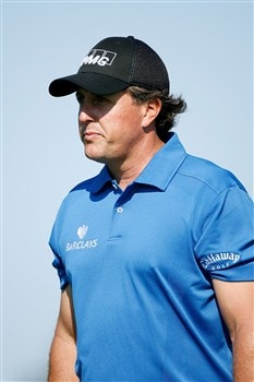 BLOOMFIELD HILLS, MI - AUGUST 07:  Phil Mickelson looks on during round one of the 90th PGA Championship at Oakland Hills Country Club on August 7, 2008 in Bloomfield Township, Michigan.  (Photo by Hunter Martin/Getty Images)