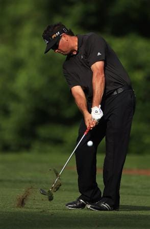 CHARLOTTE, NC - MAY 07:  Pat Perez hits a shot on the 10th hole during the third round of the Wells Fargo Championship at Quail Hollow Club on May 7, 2011 in Charlotte, North Carolina.  (Photo by Streeter Lecka/Getty Images)