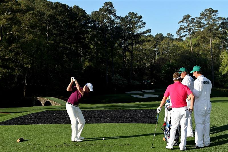 AUGUSTA, GA - APRIL 06:  Simon Dyson of England hits a shot during a practice round prior to the 2010 Masters Tournament at Augusta National Golf Club on April 6, 2010 in Augusta, Georgia.  (Photo by Andrew Redington/Getty Images)