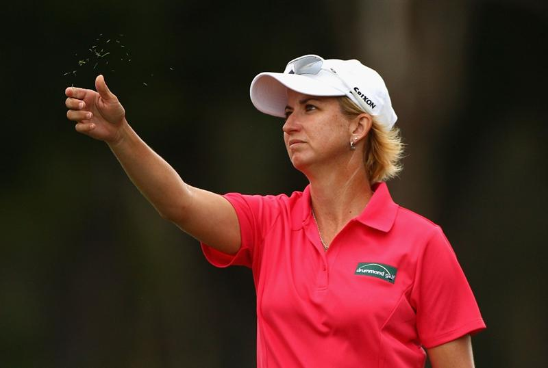 GOLD COAST, AUSTRALIA - MARCH 05:  Karrie Webb of Australia checks the wind on the 4th hole during round two of the 2010 ANZ Ladies Masters at Royal Pines Resort on March 5, 2010 in Gold Coast, Australia.  (Photo by Ryan Pierse/Getty Images)