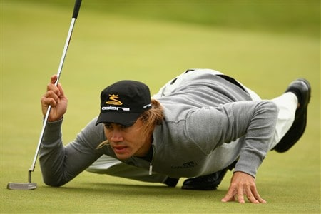 SOUTHPORT, UNITED KINGDOM - JULY 17:  Camilo Villegas of Colombia lines up a putt during the First Round of the 137th Open Championship on July 17, 2008 at Royal Birkdale Golf Club, Southport, England.  (Photo by Richard Heathcote/Getty Images)
