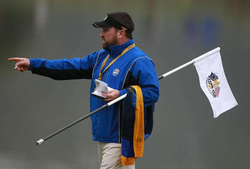 NEWPORT, WALES - SEPTEMBER 28:  Martin Kaymer's caddie Craig Connolly gestures during a practice round prior to the 2010 Ryder Cup at the Celtic Manor Resort on September 28, 2010 in Newport, Wales. (Photo by Scott Halleran/Getty Images)