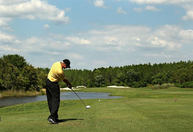 LUTZ, FL - APRIL 15:  Don Pooley hits his tee shot on the 15th hole during the first round of the Outback Steakhouse Pro-Am at the TPC of Tampa on April 15, 2011 in Lutz, Florida.  (Photo by Mike Ehrmann/Getty Images)