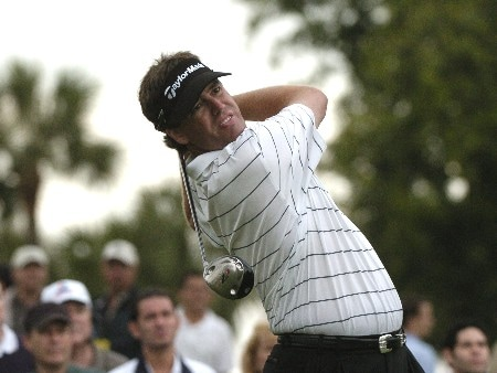 Brent Geiberger drives from the 17th tee during second-round competition March 4, 2005  at the Ford Championship at Doral in Miami.