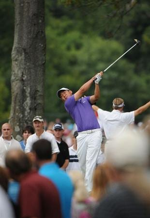 ST. LOUIS - SEPTEMBER 07 :  Anthony Kim  tees off the 5th hole during the fourth and final round  of the BMW Championship held at Bellerive Country Club on September 7, 2008 in St. Louis, Missouri. (Photo by Marc Feldman/Getty Images)