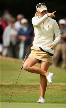 SUNNINGDALE, UNITED KINGDOM - AUGUST 01:  Morgan Pressel of the USA takes off her shoe on the 15th green during the second round of the 2008 Ricoh Women's British Open held on the Old Course at Sunningdale Golf Club on August 1, 2008 in Sunningdale, England.  (Photo by Warren Little/Getty Images)