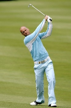 Johan Skold watches his shot during the second round of the 2005 Celtic Manor Wales Open at Celtic Manor's Roman Road course. June 3, 2005Photo by Pete Fontaine/WireImage.com