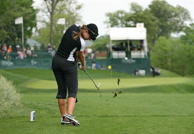 WILLIAMSBURG, VA : Vicky Hurst hits her tee shot on the 17th hole during the first round of the Michelob Ultra Open at Kingsmill Resort on May 7, 2009 in Williamsburg, Va. (Photo by Hunter Martin/Getty Images)