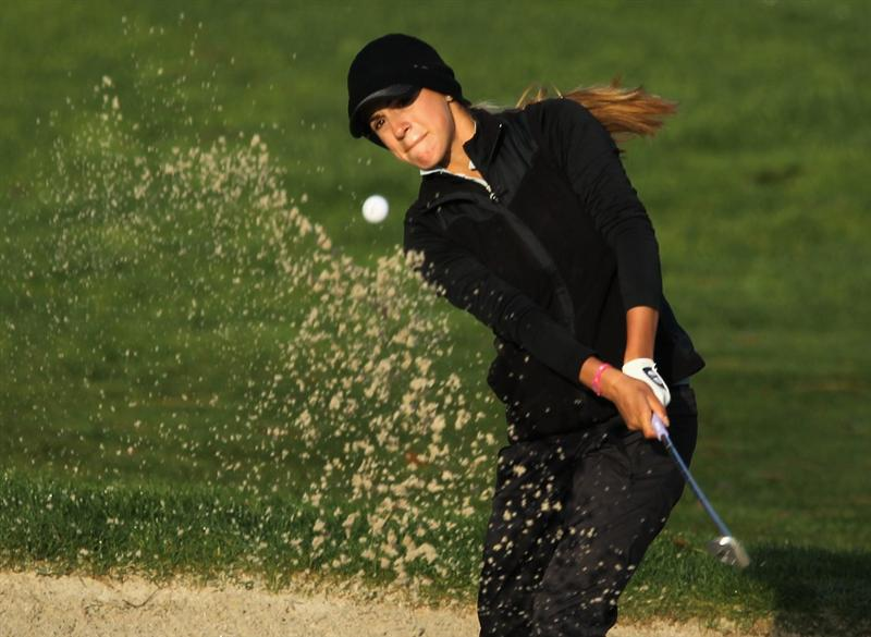 CITY OF INDUSTRY, CA - MARCH 24:  Belen Mozo of Spain plays a bunker shot on the 12th hole during the first round of the Kia Classic on March 24, 2011 at the Industry Hills Golf Club in the City of Industry, California.  (Photo by Scott Halleran/Getty Images)