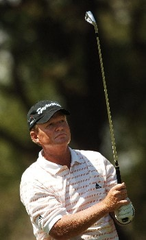 Lonnie Nielsen hits from the 11th tee during the final round of the 2005 FedEx Kinko's Classic at the Hills Country Club in Austin, Texas May 1, 2005.Photo by Steve Grayson/WireImage.com