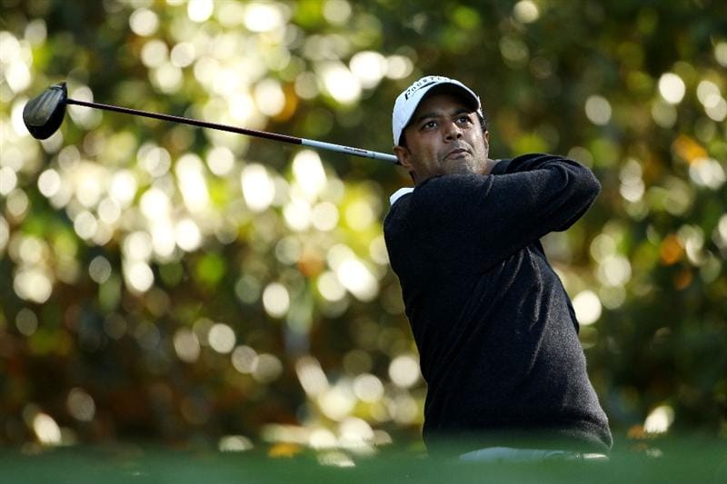 AUGUSTA, GA - APRIL 06:  Arjun Atwal of India watches a shot during a practice round prior to the 2011 Masters Tournament at Augusta National Golf Club on April 6, 2011 in Augusta, Georgia.  (Photo by Andrew Redington/Getty Images)