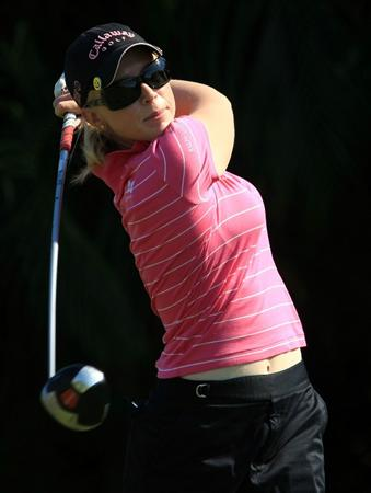 WEST PALM BEACH, FL - NOVEMBER 21:  Morgan Pressel hits her tee shot on the ninth hole during the second round of the ADT Championship at the Trump International Golf Club on November 21, 2008 in West Palm Beach, Florida.  (Photo by Scott Halleran/Getty Images)