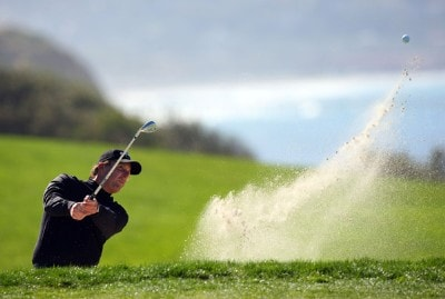 Phil Mickelson hits out of the bunker on the 4th green during the second round of the Buick Invitational on January 25, 2008 at the Torrey Pines Golf Course in  La Jolla, California. PGA TOUR - 2008 Buick Invitational - Round TwoPhoto by Donald Miralle/Getty Images