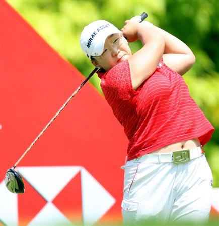 SINGAPORE - MARCH 08:  Jiyai Shin of South Korea on the 6th tee during the final round of HSBC Women's Champions at the Tanah Merah Country Club on March 8, 2009 in Singapore.  (Photo by Ross Kinnaird/Getty Images)