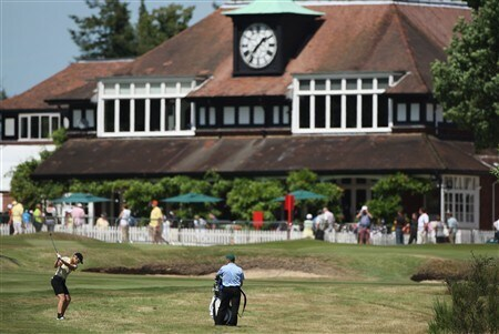 SUNNINGDALE, UNITED KINGDOM - JULY 30:  Catriona Matthew of Scotland hits her approach shot into the 18th green during practice for the 2008 Ricoh Women's British Open at Sunningdale Golf Club on July 30, 2008 in Sunningdale, England.  (Photo by Warren Little/Getty Images)