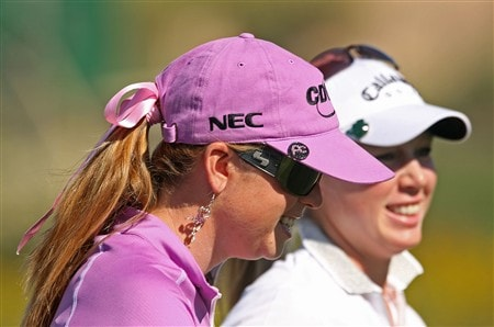 SUPERSTITION MOUNTAIN, ARIZONA - MARCH 27:  Paula Creamer walks with Morgan Pressel during the first round of the Safeway International at Superstition Mountain Golf and Country Club on March 27, 2008 in Superstition Mountain, Arizona.  (Photo by Scott Halleran/Getty Images)