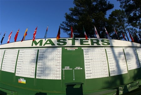 AUGUSTA, GA - APRIL 09:  The main scoreboard is seen during the third day of practice prior to the start of the 2008 Masters Tournament at Augusta National Golf Club on April 9, 2008 in Augusta, Georgia.  (Photo by Andrew Redington/Getty Images)