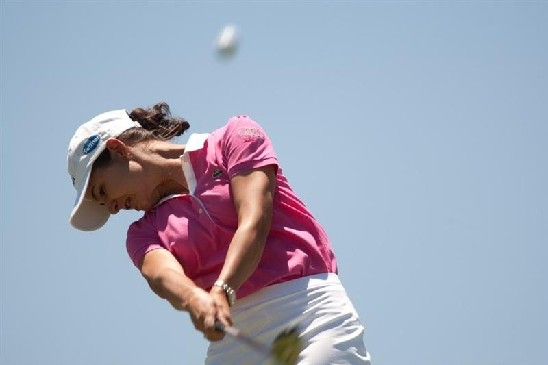 MORELIA, MEXICO - MAY 2: Lorena Ochoa of Mexico hits a tee shot during the fourth round of the Tres Marias Championship at the Tres Marias Country Club on May 2, 2010 in Morelia, Mexico. (Photo by Darren Carroll/Getty Images)