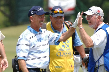 Pete Oakley celebrates a hole in one on the par-three 12th hole   during the second round of the 2005 Blue Angels Class  May 14 in Milton, Fl.  The ace was the first of the year on the Champions Tour.Photo by Al Messerschmidt/WireImage.com