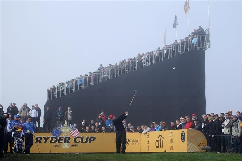 NEWPORT, WALES - OCTOBER 04:  Steve Stricker of the USA tees off on the 2nd hole in the singles matches during the 2010 Ryder Cup at the Celtic Manor Resort on October 4, 2010 in Newport, Wales.  (Photo by Andy Lyons/Getty Images)