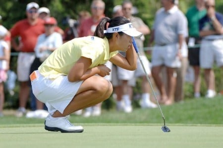 Birdie Kim lines up a putt on the ninth green during the third round of the 2005 Jamie Farr Owens Corning Classic at the Highland Meadows Golf Club in Sylvania, Ohio on July 9, 2005.Photo by Al Messerschmidt/WireImage.com