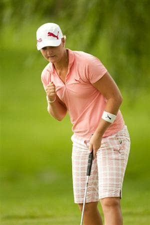 SPRINGFIELD, IL - JUNE 13: Anna Nordqvist of Sweden pumps her fist after saving par on the tenth hole during the fourth round of the LPGA State Farm Classic at Panther Creek Country Club on June 13, 2010 in Springfield, Illinois. (Photo by Darren Carroll/Getty Images)