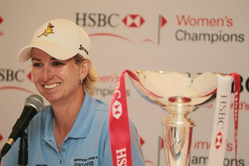 SINGAPORE - FEBRUARY 27:  Karrie Webb of Australia speaks with the media after her one-stroke victory at the HSBC Women's Champions 2011 at the Tanah Merah Country Club on February 27, 2011 in Singapore, Singapore.  (Photo by Scott Halleran/Getty Images)