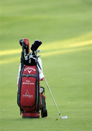 PACIFIC PALISADES, CA - FEBRUARY 17:  Golf bag of Phil Mickelson on the eighth fairway during the first round of the Northern Trust Open at the Riviera Country Club on February 17, 2011 in Pacific Palisades, California.  (Photo by Harry How/Getty Images)