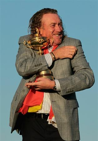 NEWPORT, WALES - OCTOBER 04:  European Team member Miguel Angel Jimenez poses with the Ryder Cup following Europe's 14.5 to 13.5 victory over the USA at the 2010 Ryder Cup at the Celtic Manor Resort on October 4, 2010 in Newport, Wales.  (Photo by David Cannon/Getty Images)