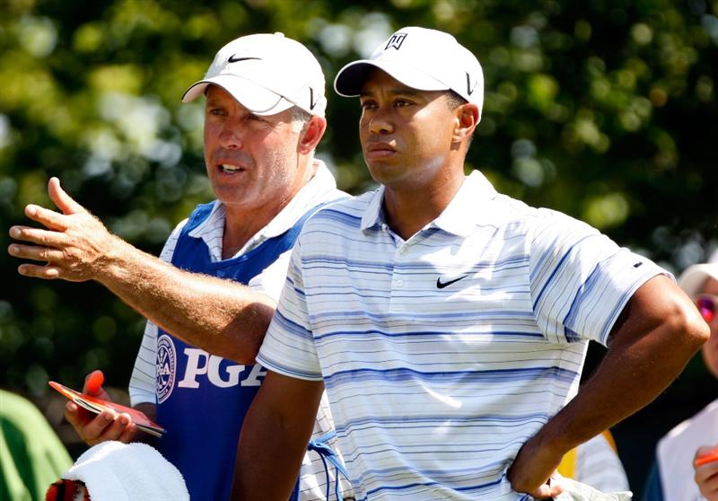 CHASKA, MN - AUGUST 14:  Tiger Woods chats with his caddie Steve Williams during the second round of the 91st PGA Championship at Hazeltine National Golf Club on August 14, 2009 in Chaska, Minnesota.  (Photo by Streeter Lecka/Getty Images)