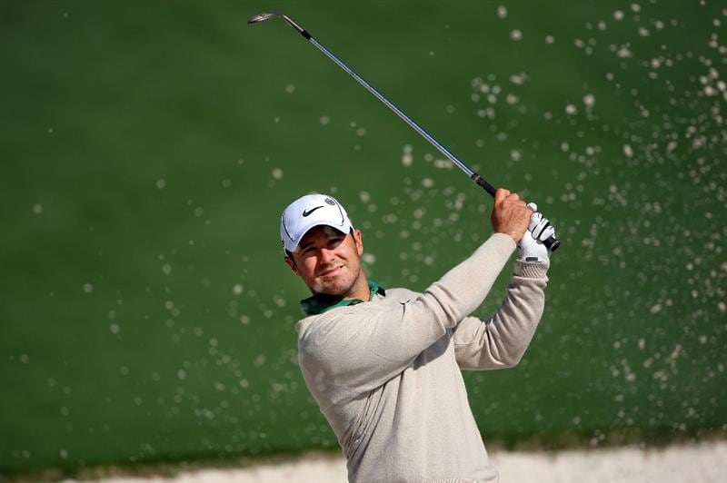 AUGUSTA, GA - APRIL 06:  Trevor Immelman of South Africa plays a shot from a bunker during a practice round prior to the 2009 Masters Tournament at Augusta National Golf Club on April 6, 2009 in Augusta, Georgia.  (Photo by Andrew Redington/Getty Images)