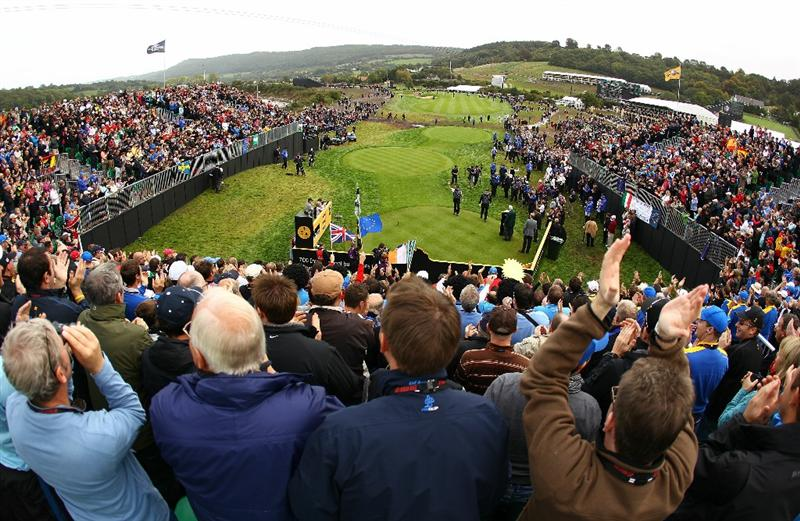 NEWPORT, WALES - OCTOBER 02:  Miguel Angel Jimenez of Europe walks to the 1st tee during the rescheduled Afternoon Foursome Matches during the 2010 Ryder Cup at the Celtic Manor Resort on October 2, 2010 in Newport, Wales. (Photo by Richard Heathcote/Getty Images)