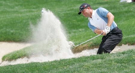 Jay Williamson hitting out of a trap during the second round of The Byron Nelson Championship at the TPC course in Irving, Texas.  May 13, 2005.Photo by Scott Clarke/WireImage.com