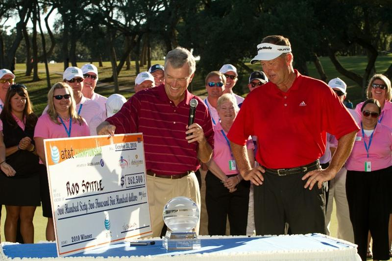 SAN ANTONIO, TX - OCTOBER 31: Rod Spittle is awarded the winner's check after the final round of the AT&T Championship at Oak Hills Country Club on October 31, 2010 in San Antonio, Texas. (Photo by Darren Carroll/Getty Images)