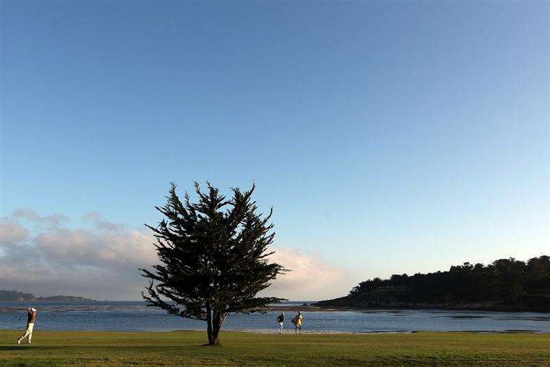 PEBBLE BEACH, CA - JUNE 19:  Gregory Havret of France hits his second shot on the 18th hole during the third round of the 110th U.S. Open at Pebble Beach Golf Links on June 19, 2010 in Pebble Beach, California.  (Photo by Andrew Redington/Getty Images)