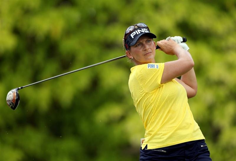 SINGAPORE - FEBRUARY 25:  Angela Stanford of the USA hits her tee-shot on the sixth hole during the first round of the HSBC Women's Champions at the Tanah Merah Country Club on February 25, 2010 in Singapore.  (Photo by Andrew Redington/Getty Images)