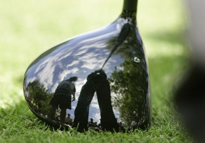 A player's reflection is shown in his driver during the second round of the EDS Byron Nelson Championship held on the Tournament Players Course and Cottonwood Valley Course at TPC Four Seasons Resort Las Colinas in Irving, Texas, on April 27, 2007. Photo by: Stan Badz/PGA TOURPhoto by: Stan Badz/PGA TOUR