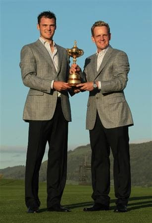 NEWPORT, WALES - OCTOBER 04:  (L-R) European Team members Martin Kaymer and Luke Donald pose with the Ryder Cup following Europe's 14.5 to 13.5 victory over the USA at the 2010 Ryder Cup at the Celtic Manor Resort on October 4, 2010 in Newport, Wales.  (Photo by David Cannon/Getty Images)