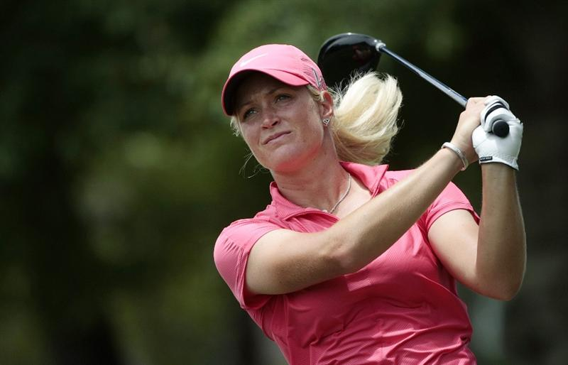 MOBILE, AL - MAY 15:  Suzann Pettersen of Norway hits her drive from the third tee during third round play in the Bell Micro LPGA Classic at the Magnolia Grove Golf Course on May 15, 2010 in Mobile, Alabama.  (Photo by Dave Martin/Getty Images)