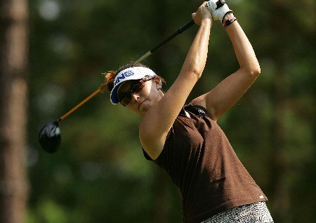 SOUTHERN PINES, NC - JUNE 28:  Stacy Prammanasudh hits her tee shot on the seventh hole during round one of the U.S. Women's Open Championship at Pine Needles Lodge & Golf Club on June 28, 2007 in Southern Pines, North Carolina.  (Photo by Streeter Lecka/Getty Images)