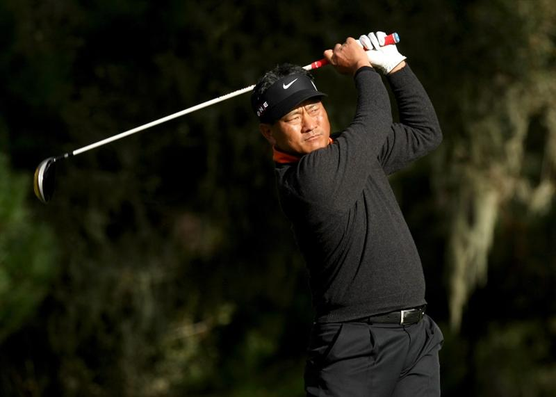 PEBBLE BEACH, CA - FEBRUARY 13: K. J. Choi of Korea hits his tee shot on the eighth hole at Spyglass Hill Golf Course during the second round of the AT&T Pebble Beach National Pro-Am on February 13, 2009 in Pebble Beach, California. (Photo by Stephen Dunn/Getty Images)