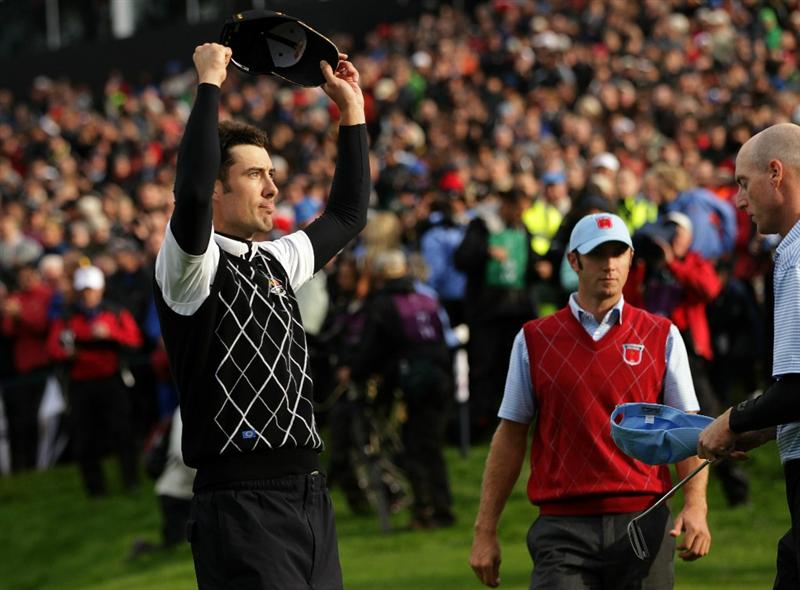 NEWPORT, WALES - OCTOBER 03:  Ross Fisher of Europe celebrates winning his match on the 17th green during the  Fourball & Foursome Matches during the 2010 Ryder Cup at the Celtic Manor Resort on October 3, 2010 in Newport, Wales.  (Photo by Andrew Redington/Getty Images)